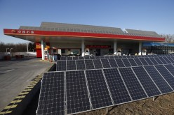 Solar panels are seen at PetroChina's solar-powered Yizhuang gas station in Beijing, Jan. 9, 2015.