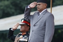 Nepali President Ram Baran Yadav salutes the Army during a ceremony in Kathmandu in 2008.