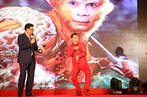"Liu Xiao Ling Tong (in red) will portray the character of Sun Wukong or the Monkey King in the upcoming 3D movie ""Journey to the West."""