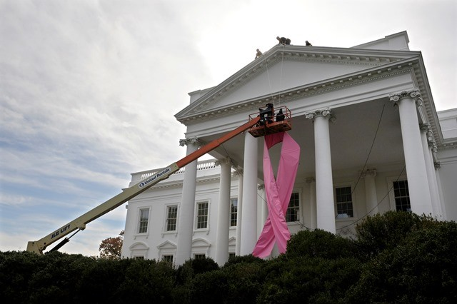 Workers hoist a pink ribbon in honor of breast cancer awareness on the front of the White House in Washington, October 26, 2009.