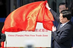 Tianjin municipal mayor and acting Communist Party Secretary Huang at an unveiling ceremony held on April 21, 2015, in Tianjin municipality for the China (Tianjin) Pilot Free Trade Zone.