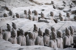 Hundreds of Terracotta warriors, which were unearthed during the first excavation from 1978 to 1984, stand inside the No.1 pit at a museum in Xi'an, Shaanxi Province, June 10, 2009.