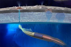 An artist's rendering depicts a soft robotic rover, resembling a squid or lamprey, that can swim though oceans.