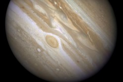 The planet Jupiter is shown with one of its moons, Ganymede (bottom) taken April 9, 2007.
