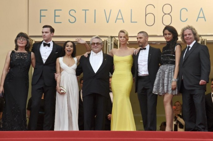"Margaret Sixel (L), Nicholas Hoult, Zoe Kravitz, George Miller, Charlize Theron, Tom Hardy, Courtney Eaton and Doug Mitchell pose as they arrive for the screening of ""Mad Max: Fury Road"" during the 68th Cannes Film Festival in Cannes, on May 14, 2015."