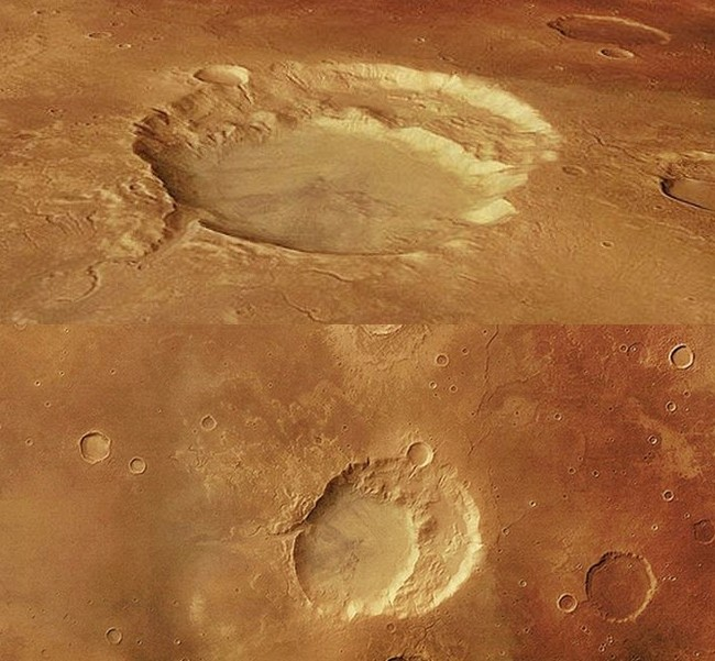 Two views of the shattered Siloe Patera supervolcano on Mars