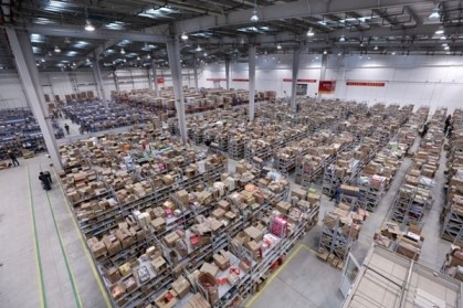Packages to be delivered to Alibaba consumers are stored in Cainiao warehouse in Tianjin.