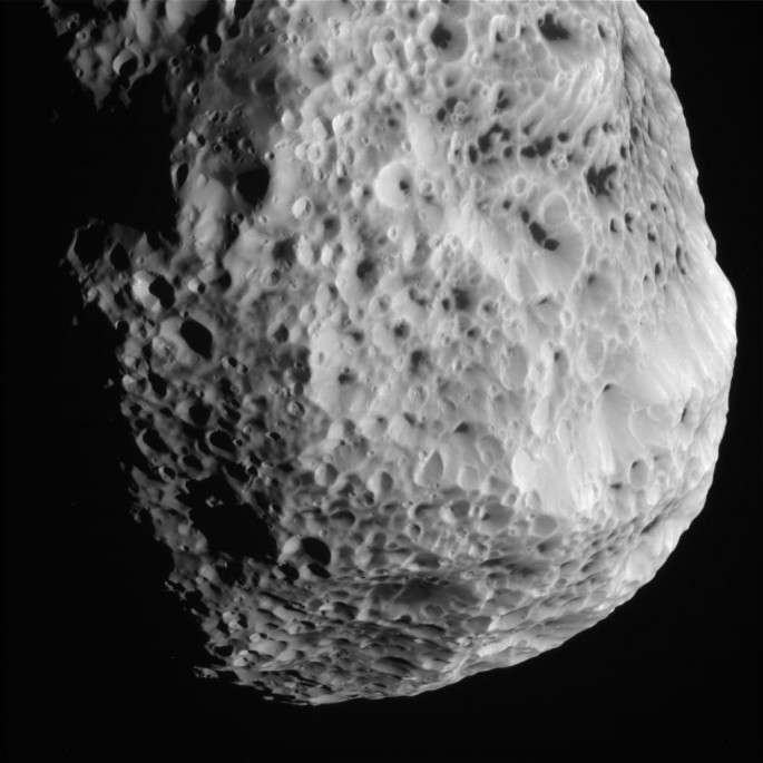 This raw, unprocessed image of Hyperion was taken on May 31, 2015 and received on Earth June 1, 2015.