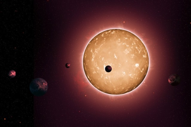 The system Kepler-444 formed when the Milky Way galaxy was a youthful two billion years old. The planets were detected from the dimming that occurs when they transit the disc of their parent star, as shown in this artist's conception.