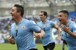 Uruguay's Cristian Rodriguez (#7) scored the lone goal of the match.