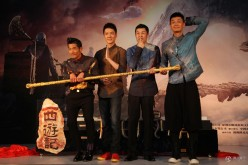 """""""Monkey King 2"""" cast members Aaron Kwok (left) and Feng Shaofeng (second from left) pose for the press during a press conference."""