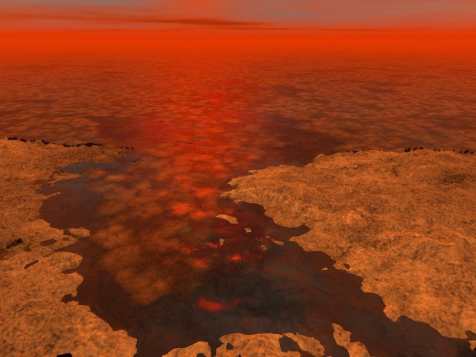 Titan's surface formed by liquid hydrocarbon