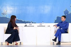 Global style icon Miroslava Duma interviews the executive chairman of the Alibaba Group, Jack Ma Yun, at the St. Petersburg International Economic Forum.