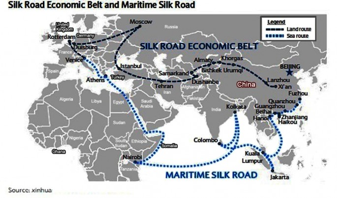 A map showing the Silk Road Economic Belt and Maritime Silk Road proposed by China.