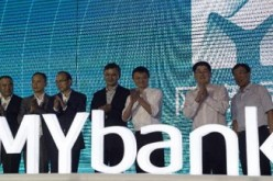 Alibaba founder and CEO Jack Ma attends the launching of Internet bank MYbank in the eastern city of Hangzhou.