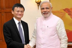 Alibaba's founder and chairman Jack Ma with Indian Prime Minister Narendra Modi.