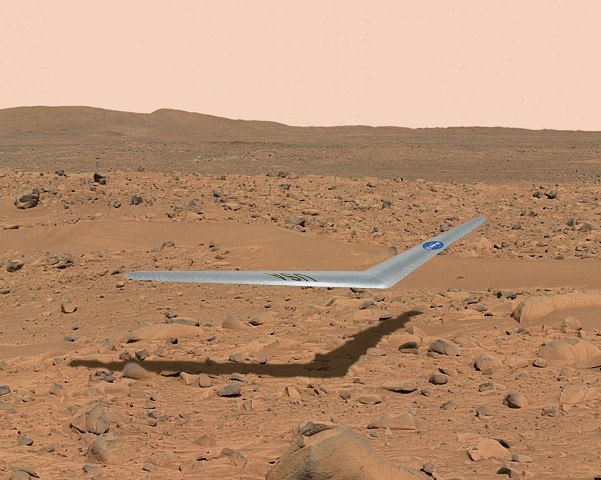 This illustration shows what a Prandtl-m might look like flying above the surface of Mars.