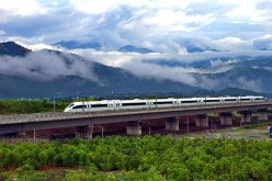 A train runs on the Hefei-Fuzhou high-speed rail.