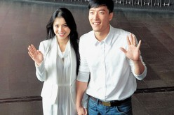 Better times: Athlete Liu Xiang and actress Ge Tian holding hands and posing together for the camera. They divorced on June 26, 2015.