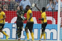 Jamaica goalkeeper Ryan Thompson (23) celebrates a win over El Salvador during the 2015 Gold Cup.