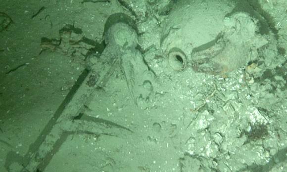 Remnants of the shipwreck in the seabed off of the North Carolina coast.