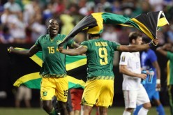 Jamaica celebrates their semifinal win over USMNT in the 2015 Gold Cup.