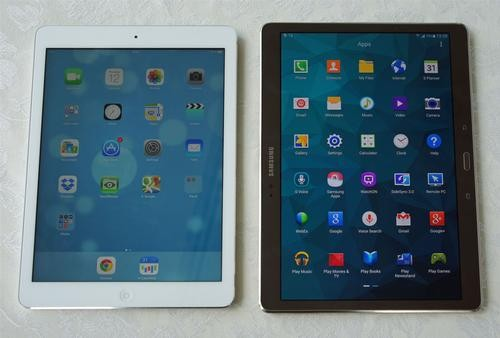 A picture preview of Apple's iPad Air 2 and Samsung Galaxy Tab A 9.7