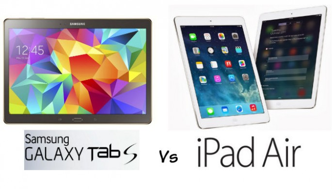A display of the Samsung Galaxy Tab S and Apple's iPad Air 2