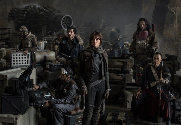 "Long-haired, bearded Jiang Wen and Donnie Yen together with the other cast of ""Rogue One: A Star Wars Story."""
