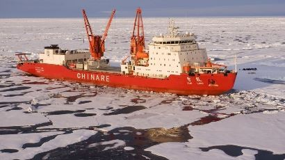 China's Xue Long on research expedition in the Antarctic. The country plans to partner with India and Russia for a joint exploration of oil and gas reserves in the Arctic.