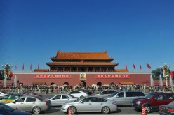 Photo taken on Oct. 15, 2013 shows the Tiananmen Square in Beijing under a blue sky.