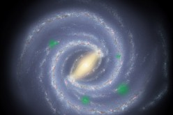 In this theoretical artist's conception of the Milky Way galaxy, translucent green