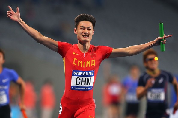 Zhang Peimeng, the last of the Chinese relay quartet, is one of the fastest men in Asia.