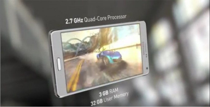 An image of Samsung Galaxy Note 4 gives details of the specs of the device.
