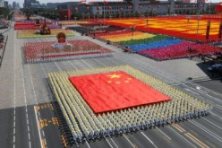 The giant Chinese national flag was carried by participants during a national parade in 2009.