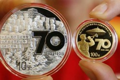 Commemorative coins for the 70th V-J Day anniversary were released by the People's Bank of China.