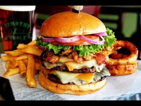 Big Hamburger with Fries and Onion Rings