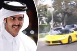 A photo showing Sheik Khalid bin Hamad Al-Thani and the yellow Ferrari he allegedly used to drag race.