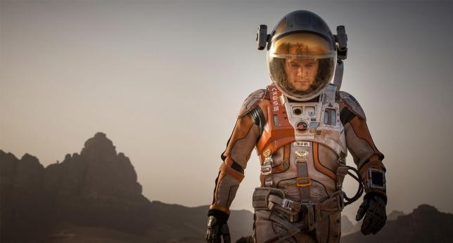 "Matt Damon stars in the upcoming movie ""The Martian."""