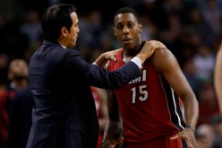 Miami Heat point guard Mario Chalmers (R) with head coach Eric Spoelstra.