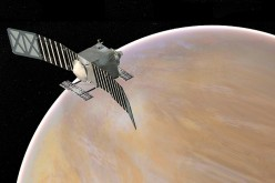 Artist's concept of the Venus Emissivity, Radio Science, InSAR, Topography, and Spectroscopy (Veritas) spacecraft, a proposed mission for NASA's Discovery program
