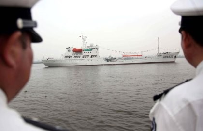 A Chinese ship departs from Guangzhou to sail to the Nansha Islands in 2013.