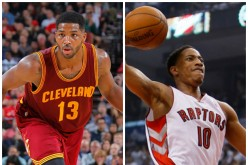 Cleveland Cavaliers' Tristan Thompson (L) and Toronto Raptors DeMar DeRozan.