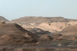 This composite image looking toward the higher regions of Mount Sharp was taken on September 9, 2015, by NASA's Curiosity rover.