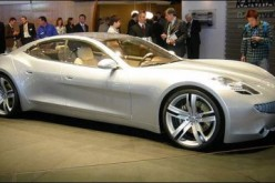 The Karma plug-in hybrid coupe developed by Fisker is shown to the public at a Detroit Auto Show in 2008.