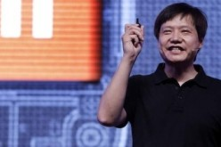 Lei Jun speaks to the crowd during the launch of a Xiaomi smartphone in India.
