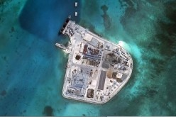 An aerial photo shows one of the lighthouses built by China on Johnson South Reef in the Spratly Islands.