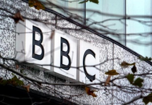 The BBC logo is seen at the company's offices in west London in this Dec. 7, 2004 photo.