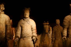 Terracotta warriors on display at the British Museum in London.