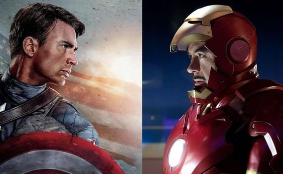 "Chris Evans and Robert Downey Jr. reprise their roles as Captain America and Iron Man, respectively in Joe Russo and Anthony Russo's ""Captain America: Civil War."""